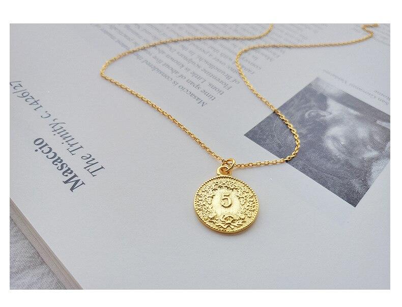 6e4a30305a62 Compre ABC Adorno De Plata 925 Simple Mujer Moneda Colgante Collar ...