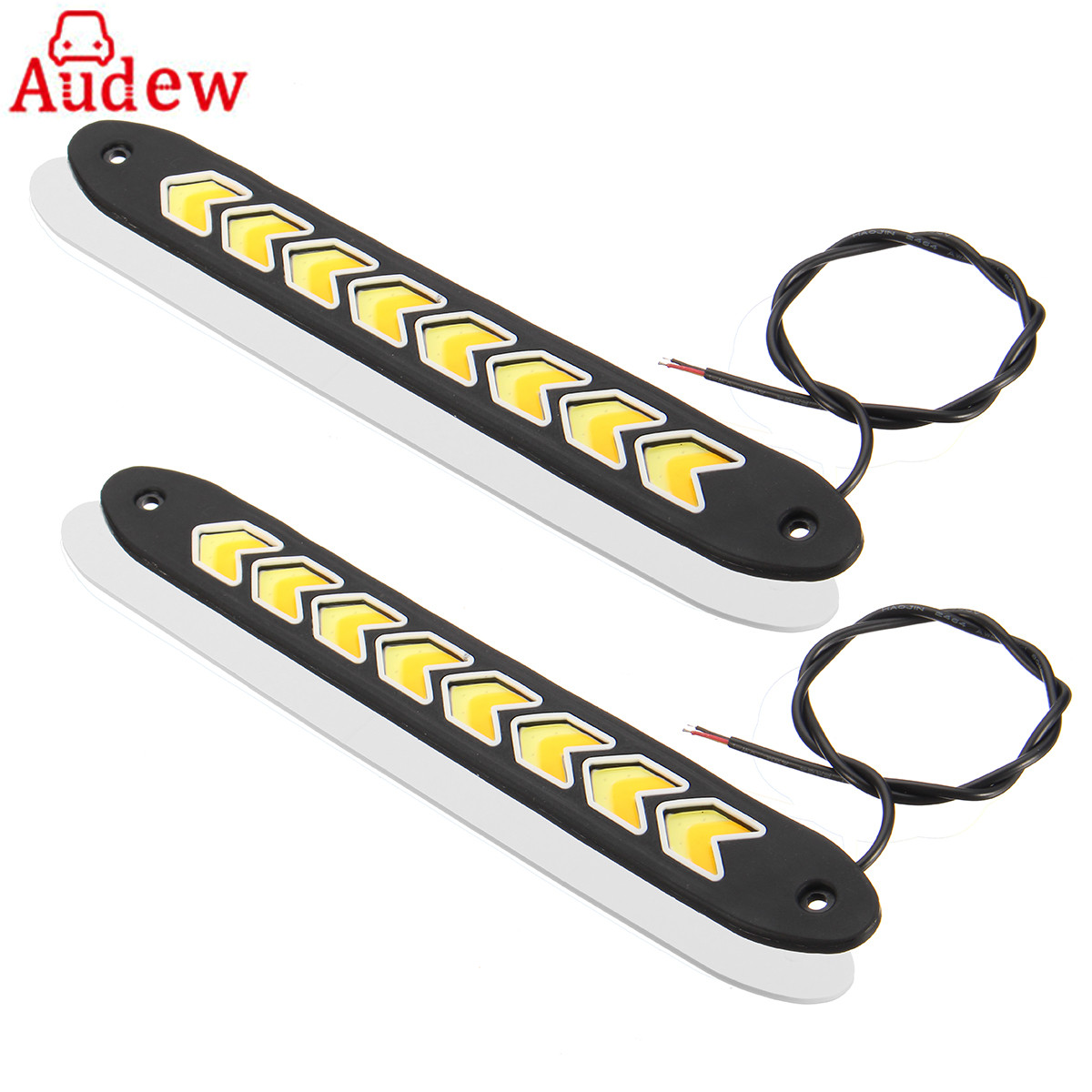 260mm Car Flexible LED DRL Daytime Running Light white &Yellow Car Turning Signal COB DRL Kit Day Light Driving Light Waterproof