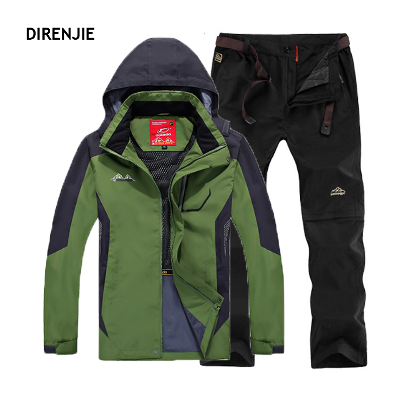 DIRENJIE Men Outdoor Summer Climbing Trekking Camping Hiking Fishing Hoodie Jackets + Waterproof mountaineering Trousers Sets men winter waterproof trekking climbing skiing softshell outdoor jackets hiking hoodie sharkskin camping pants trousers suit