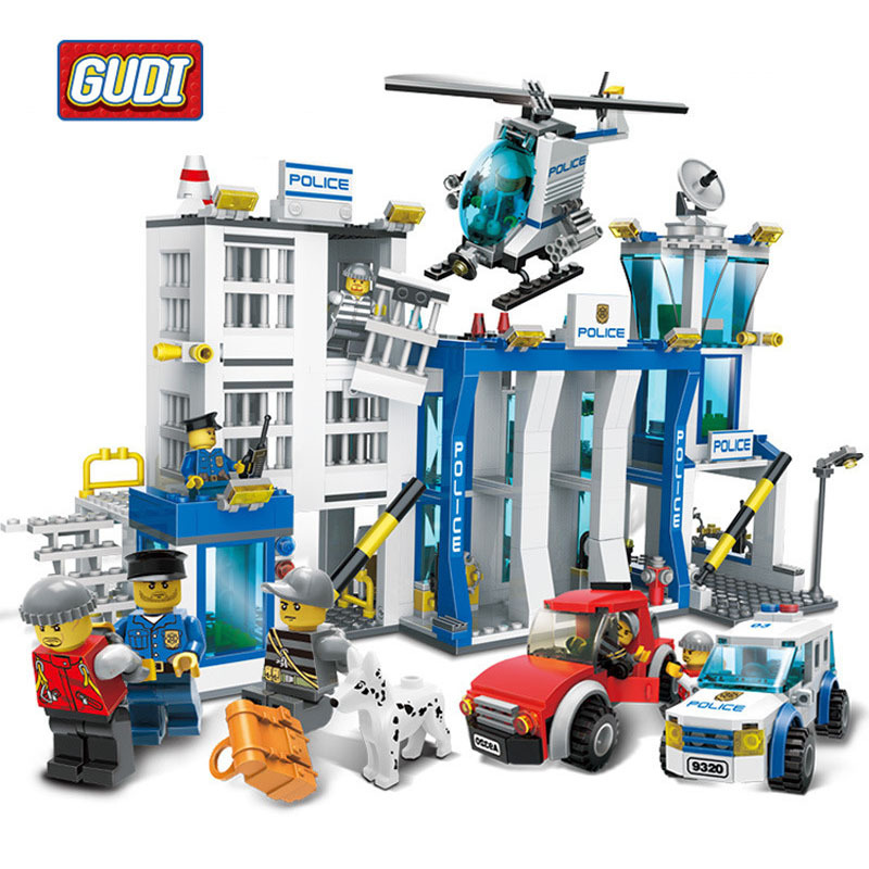GUDI SWAT Military Fire Rescure Serie Car Helicopter Building Block Toys Technic City Soldiers Police Compatible with Legoe gudi 9217 874pcs city fire station helicopter firemen building block diy educational toys for children compatible legoe