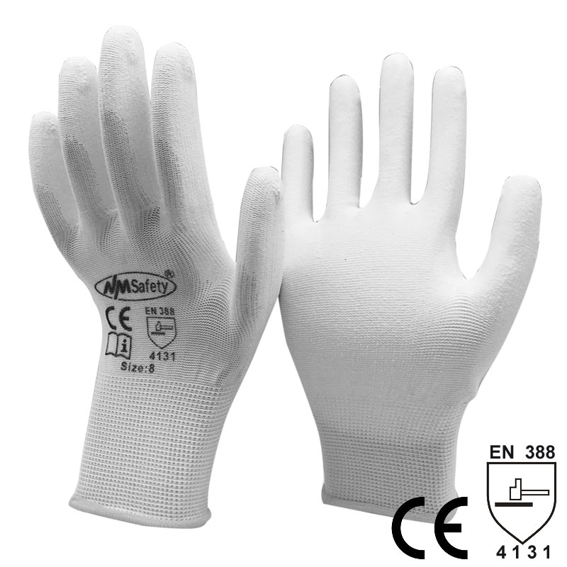NMSafety Work Glove Wholesale 120pairs White PU Industrial Component Handling Gloves