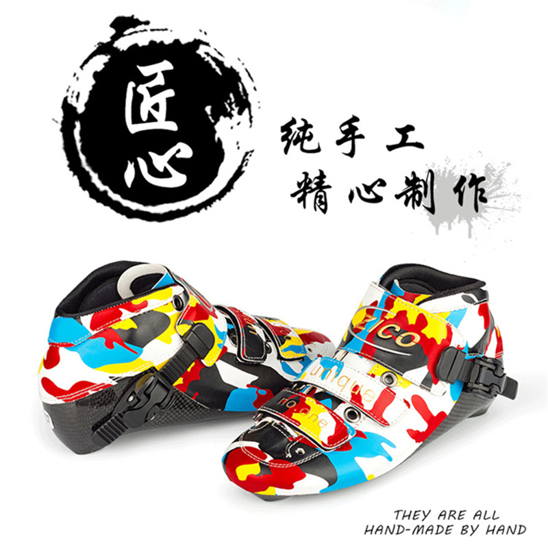 Cool Camouflage patins de vitesse en ligne botte supérieure pour les patineurs professionnels avancés 150mm 165mm 180mm 195mm montage Fiber de carbone