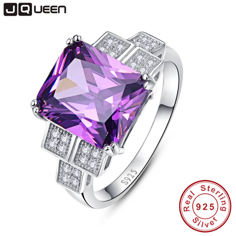JQUEEN Genuine 925 Jewelry 9.8Ct Natural Amethyst Ring For Silver 925 Sterling Silver Rings Bague Femme Fine Jewelry For Women