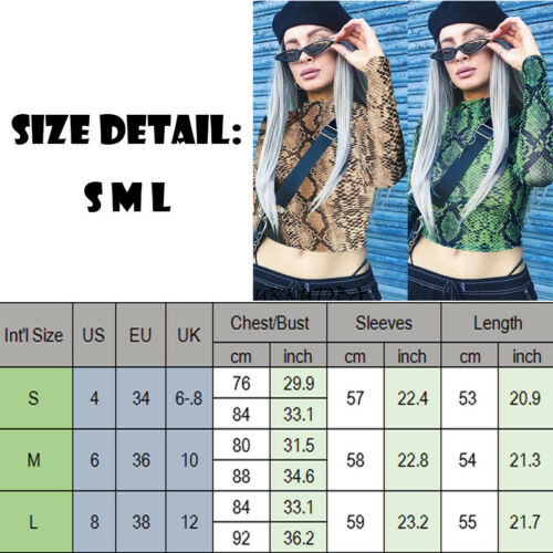 New Women Slim Crop Tops Casual Snake Print Sheer Crop Top Long Sleeve T Shirt in T Shirts from Women 39 s Clothing