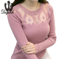2016 Autumn Ladies Knitted Shirt Long Sleeved Women Sweater Korean Style Slim Sexy Patchwork Embroidery Lace