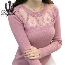 Осень 2017 г. дамы трикотажные рубашки с длинными рукавами Для женщин свитер корейский стиль Тонкий сексуальный лоскутное вышивка кружева Пуловеры для женщин свитер