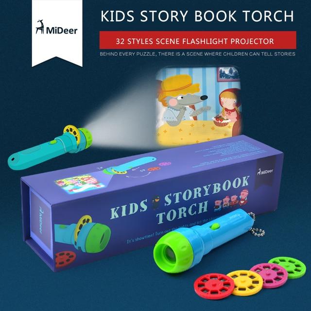 Mideer Imaginative Cartoon Storybook 3D Kaleidoscope Plastic Card Flashlight Toys Interactive Toys Kids Gifts