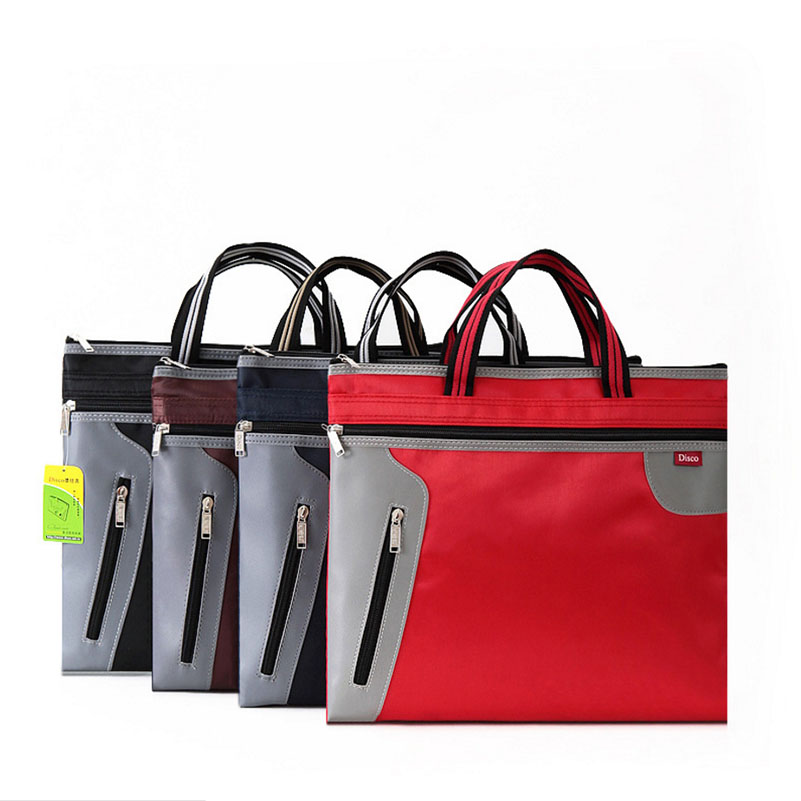 Zipper Bag For Commercial Business Documents Bag Briefcase A4 Files Folder Meeting Bag Handle Zipper Pocket Organizers Case