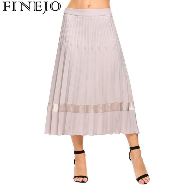 FINEJO Women Skirt Summer 2018 Pleated Party Ankle Solid Slim High Waist Plus Size