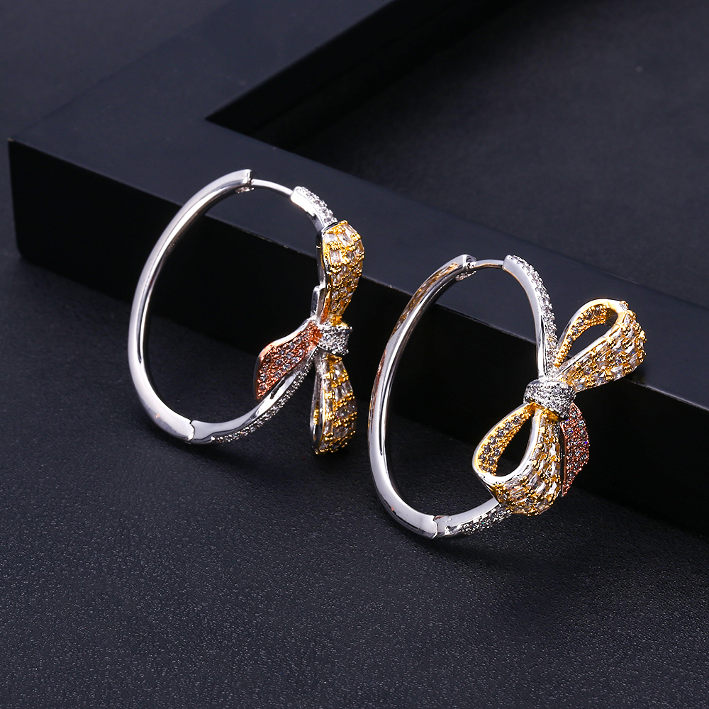 Janekellytrendy Geometric Bowknot Hoop Earrings For Women Accessories Full Cubic Zirconia Earrings Jewelry Pendientes Mujer Moda