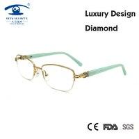 (5 PÇS/LOTE) Óculos de Marca Designer Estrutura Mulheres Luxo Diamante Mulheres Metade Óculos de Armação oculos de grau feminino