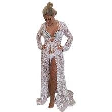 Sexy Lace Crochet See Through Beach Dress Cover Up Robe de Plage Swimsuit Cover Up Saida de Praia longa Women Bathing Suit Tunic