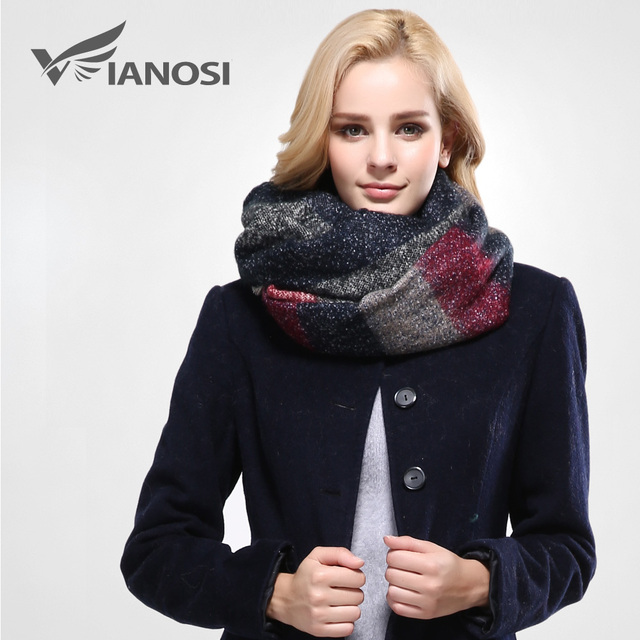 [VIANOSI]  Stylish Warm Blanket Scarf Gorgeous Wrap Long Plaid Thick Brand Shawls and Scarves for Women VA084