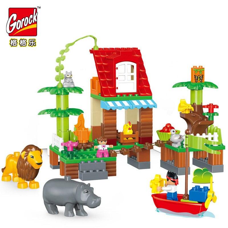 GOROCK 86 pièces Jungle Villa Lion Animal Écureuil Blocs De Construction bricolage Grande Taille Briques Bébé Cadeau Compatible Avec Duploe Enfants Jouets