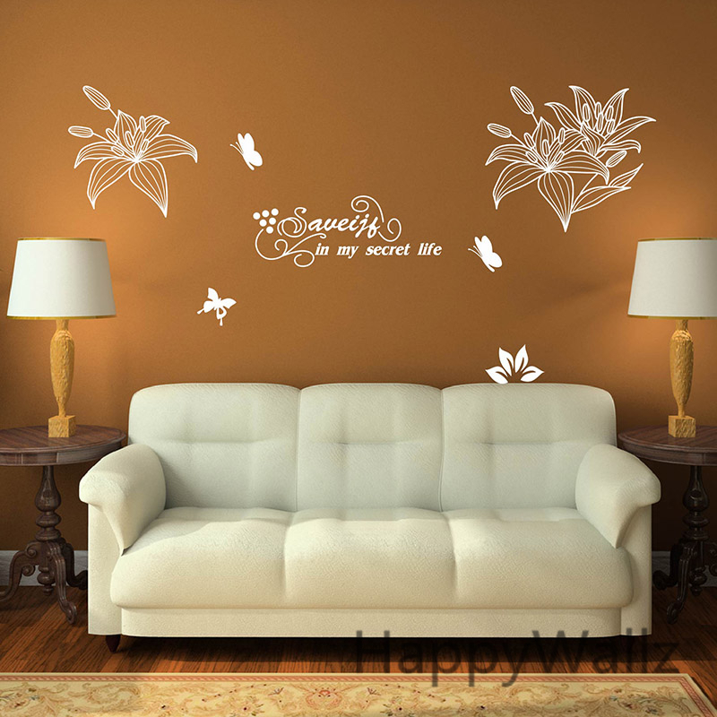 Lily Flower Wall Stickers Flower Lily Wall Decals DIY Beautiful Flower Wall Decors Lily Flower Wallpapers F37-in Wall Stickers from Home u0026 Garden on ... & Lily Flower Wall Stickers Flower Lily Wall Decals DIY Beautiful ...