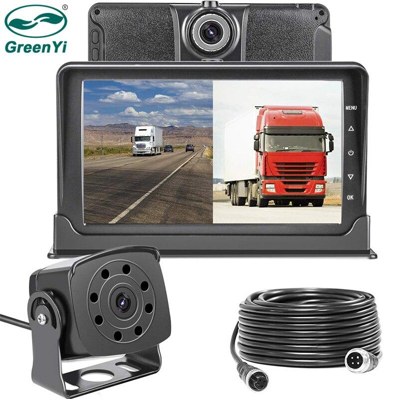 Greenyi Dash-Cam Trucks IP69 Camera Rear-7''-Monitor Night-Vision And Front With Reversing-Backup