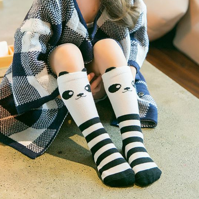 Autumn Winter Hot Kids Cute Panda Cartoon Girls Knee High Socks Kids Long Socks For Child Toddler