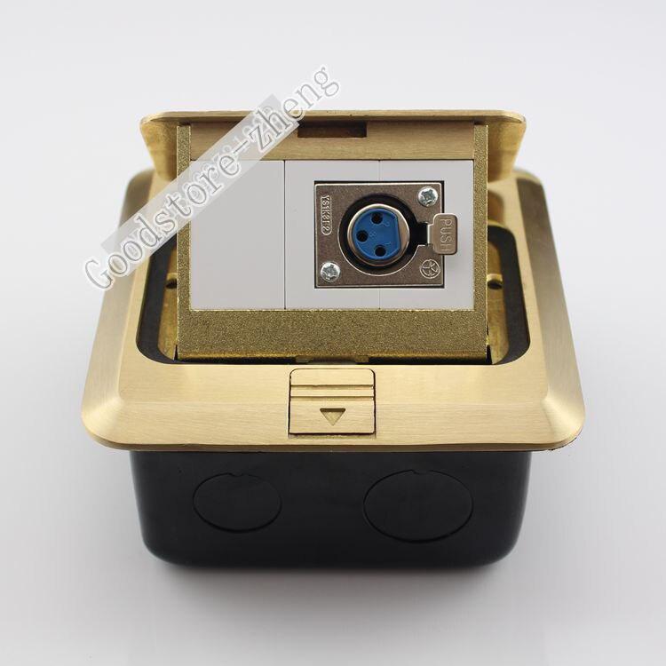 Bronze Pop up Floor Box Kit Microphone XLR Female Jack Panel Ground Outlet Socket Receptacle Home Plug Adapter 120mm Brass