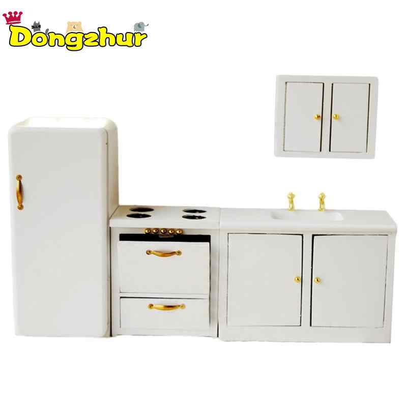 4Pcs Pure White Miniature Furniture Living Room Kitchen Modern Cabinet  DIY Home Decor Kids Toy For 1/12 Scale Dollhouse WWP3978
