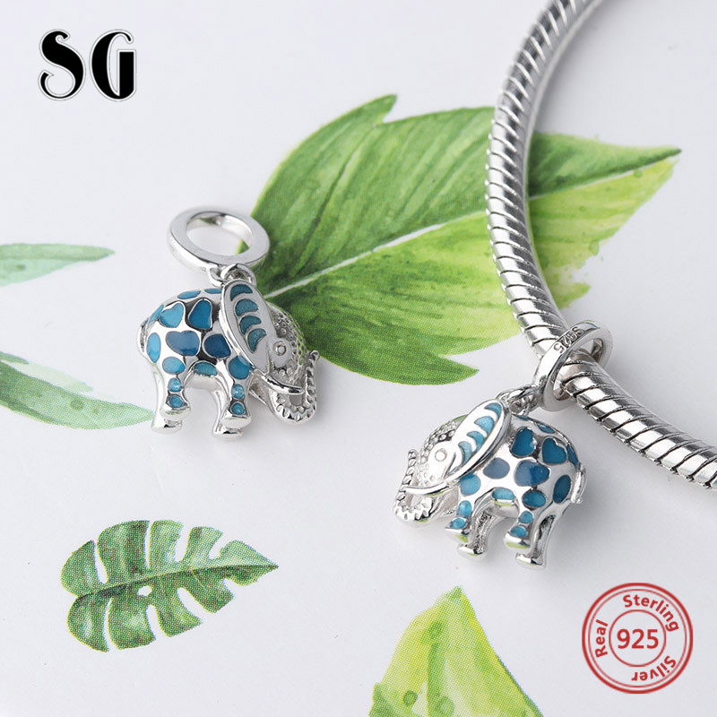 cf0707dca Fit authentic pandora charms Bracelet silver 925 cute glowing elephant  pendant beads with enamel diy jewelry making women Gifts-in Beads from  Jewelry ...