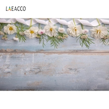 Laeacco Gray Wooden Board Flowers Food Cake Portrait Photography Backgrounds Customized Photographic Backdrops for Photo Studio