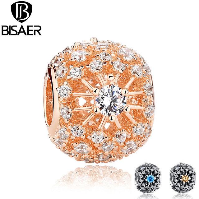 925 sterling silver brilho interior ouro rosa claro padrão charme fit pandora bracelet diy tomada de jóias de ouro acessórios