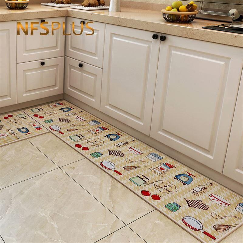 Long Kitchen Carpet Floor Mat Living Room Hallway Area Rugs Cotton PVC Dotted Anti-Slip Entrance Door Mats Doormat Home Outdoor