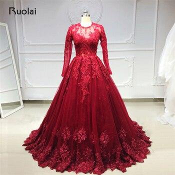 63b04c17a Borgoña Vestido de noche 2019 de manga larga de encaje con cuentas Vestido  de princesa Vestido de noche Vestido largo para las mujeres