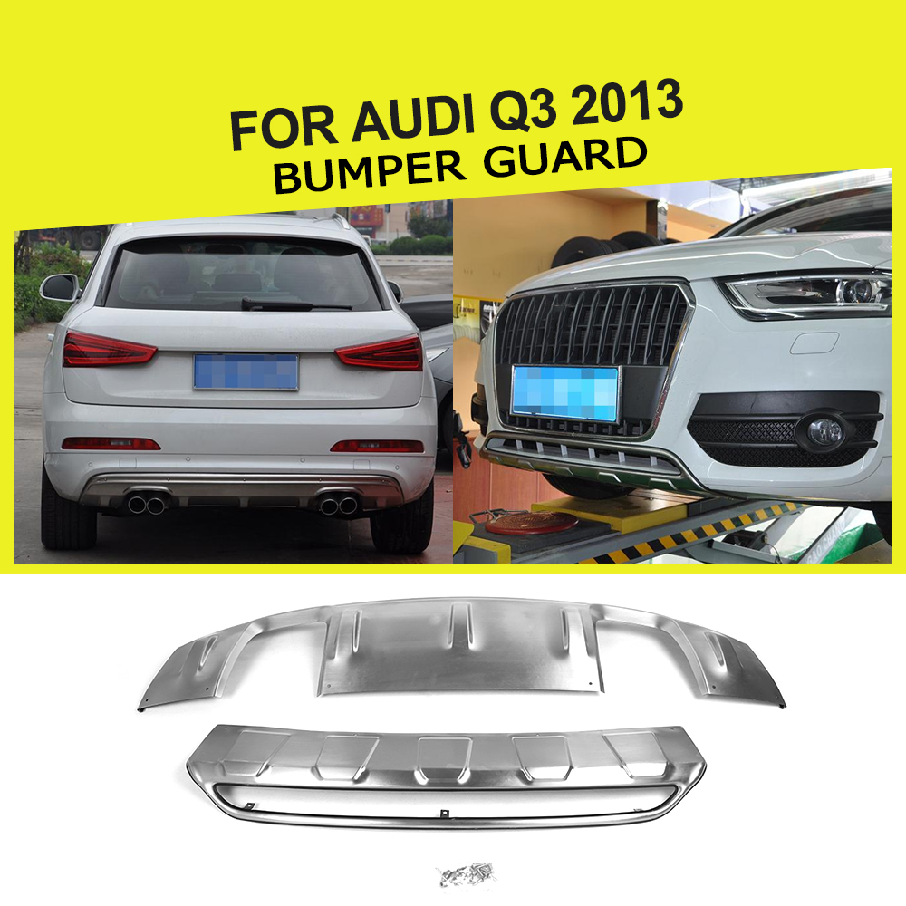 stainless steel Front bumper guard+rear bumper guard Bumper Guard For Audi Q3 2013 the white guard