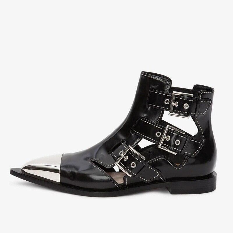 Printemps Véritable Femmes Boucle Bottines Cuir Femme Moto De En Black Été Pour Cheville Classique Bottes Marque Chaussures Sandales pOS4qxwn
