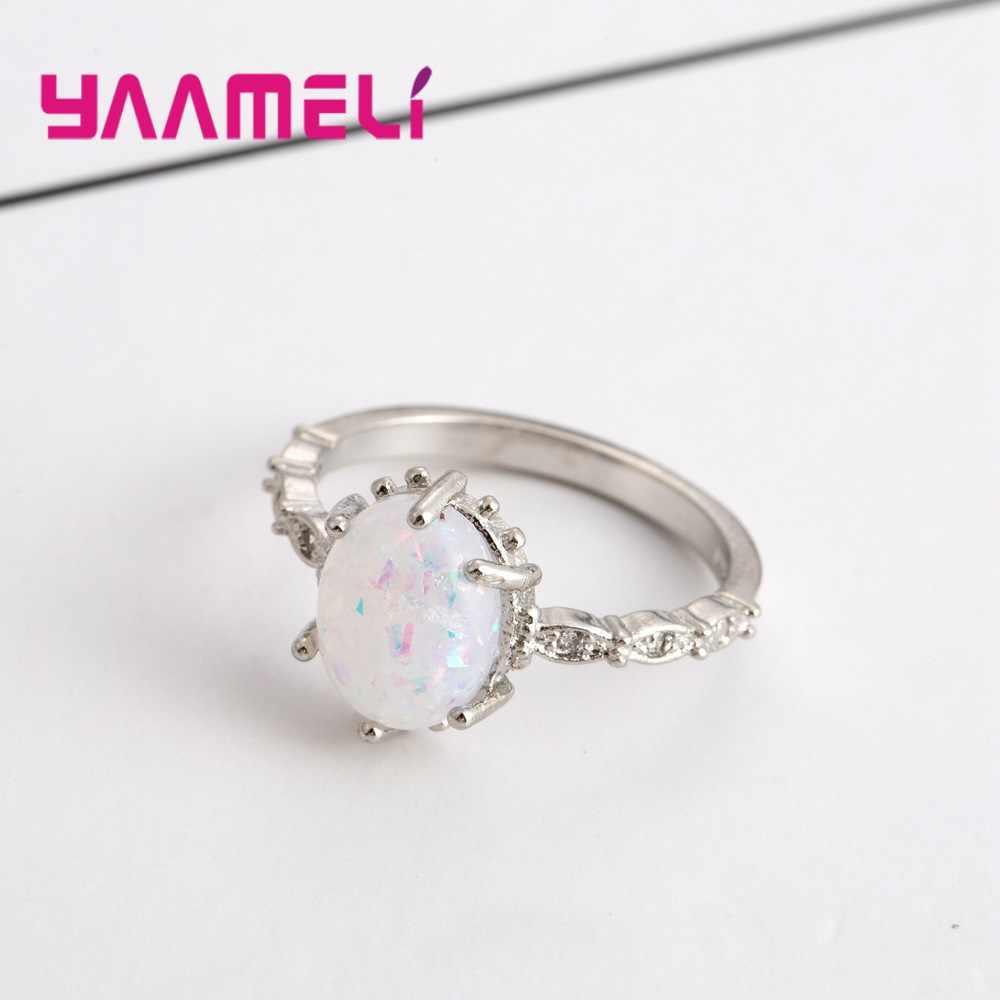 925 เงินสเตอร์ลิงสตรีแฟชั่นธรรมชาติหินควอตซ์แหวนโอปอลเครื่องประดับรูปไข่ Druzy แหวนของขวัญ Bijoux จัดส่งฟรี