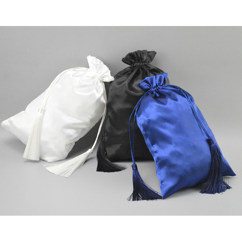 Us 29 5 Satin Drawstring Bag Jewelry Hair Bundles Packaging Gift With Tassel Pouch Hanging Silk Wig Custom Logo Size Color 50pcs In