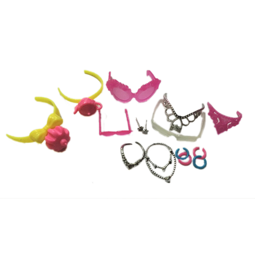1Set of Trend Jewellery Necklace Earring Bowknot Crown Accent For Barbie Dolls Children Reward
