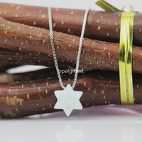 1pc Lot Free Shipping 2017 New Fashion Jewish Jewelry OP17 Snow White Star Of David
