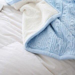 Image 3 - Cammitever 100% 코튼 고품질 양 벨벳 담요 겨울 따뜻한 니트 담요 소파/침대 커버 퀼트 니트