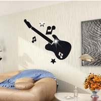Large Guitar Pattern Mirror Wall Art Sticker Crystal Music Modern Home Decor Kids Decorative Decals Mural
