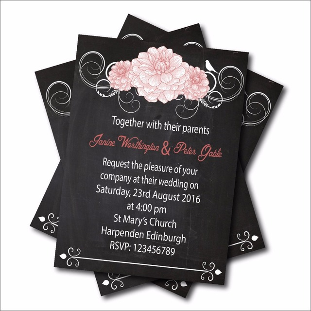Us 5 57 38 Off 14 Pcs Lot Custom Chalkboard Floral Wedding Invitation Mason Jar Bridal Shower Invites Rustic Lace Wedding Party Decoration In Cards