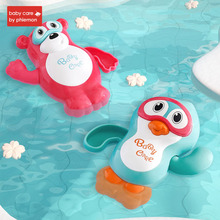 Baby Bath Toys Cartoon Penguin Bear Rotate Floating Shower Toy for Unisex Bathtub Water Play Swimming Pool Party Bathroom Gift beiens water baby floating toy bath toys for children bathroom toy new year gift