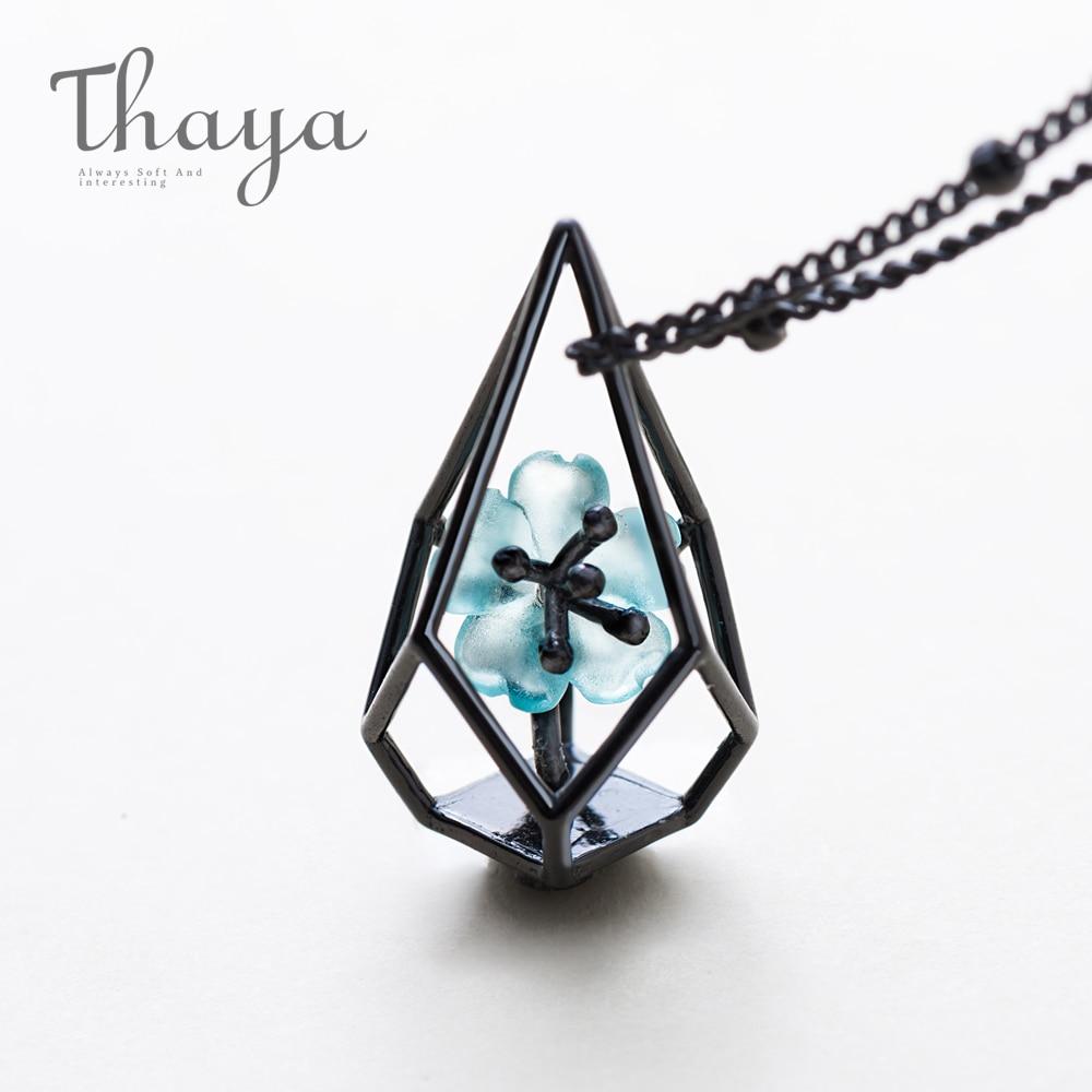 Thaya Blue Flower Terrarium Chain Necklace Black s925 silver Blue Crystal Flower Pendant Necklace Elegant Jewelry for Women