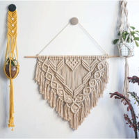 Macrame Hanging Wall Decor Wall Art Cotton Rope Cord Woven Tapestry Home Decorations for The Living Room Bedroom Boho Decor