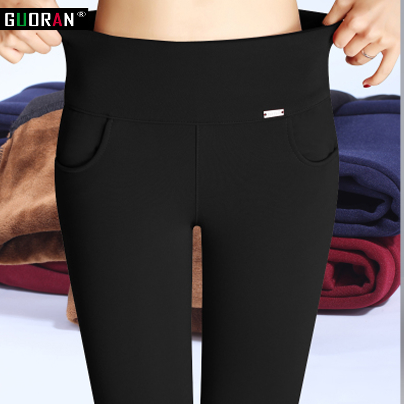 S 6XL winter warm 2018 high Elastic Waist Casual stretch Skinny Pencil Pants Women trousers Plus