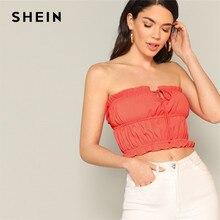 69b457bca8c SHEIN Boho Orange Tie Front Frill Trim Bandeau Crop Tank Top Women  Strapless Shirred Summer Sexy Tops Beach Casual Solid Vests