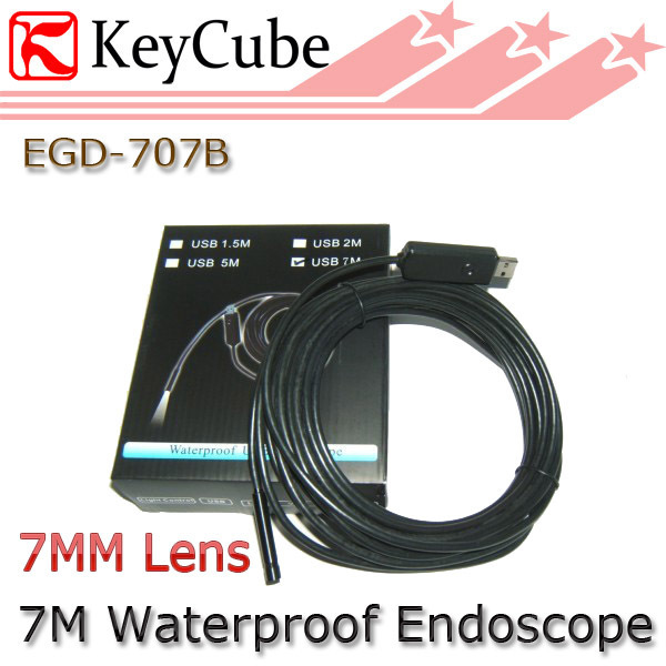 7mm Lens 7M Waterproof USB Inspection Camera 4 LED Endoscope Pipe  Free Shipping