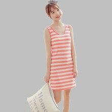 Summer Nightgowns 2016 New Women Night Dress Casual Striped Nightgown Sleepwear Sleeveless Sleepshirt Homewear Black E0188