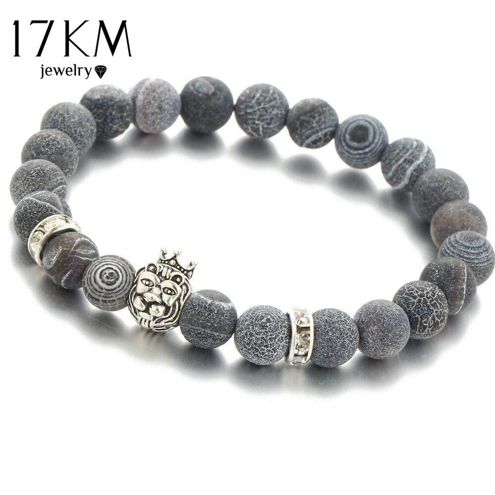 17KM Natural Stones Silver Lion Charm Women Bracelets With S