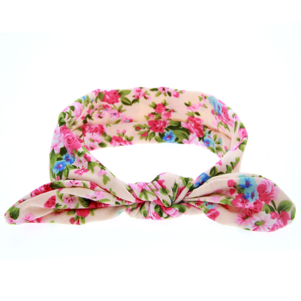 Popular style Baby girl headband lovely Rabbit Ears Elastic Flowers Bowknot Headband diademas pelo for girl hair accessories