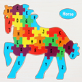 Creative Baby Kids 3D Wooden Cartoon Animals Jigsaw Children 26 Letters Infants Early Educational Childhood Puzzles Toys Gifts