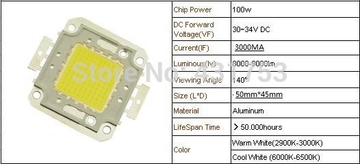 1pcs lot 100W 3000mA 30 34V LED light Lamp SMD LED Epistar chips for flood light