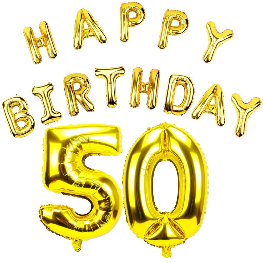 Lincaier 32 Inch 62 Cm 50th Birthday Gold Balloons Happy 50 Years