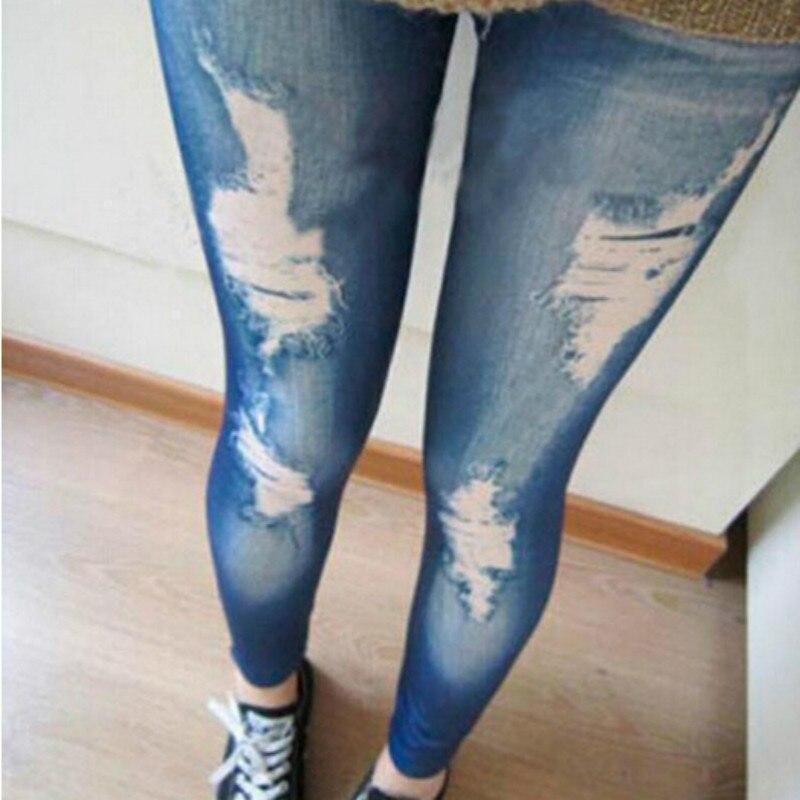 New Sexy Women's Faux Denim Look Slim Jeans Leggings Jeggings Skinny Render Pants Pencil Pants Slim False Hole Casual leggings